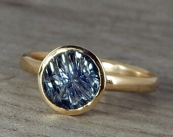 Sapphire Engagement Ring - Ethical Montana Sapphire in Recycled 14k Yellow Gold - Engagement, Wedding, or Cocktail Ring - size 6.25