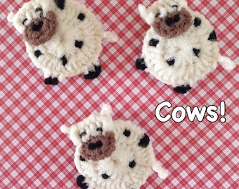 "Nylon Cow Pot Scrubbers- 2 Through 6 Cow Dish Scrubbers, Crocheted Scrubbies, Housewarming Approx 4 1/2 "" Dia.  Great on Teflon & All-Clad"