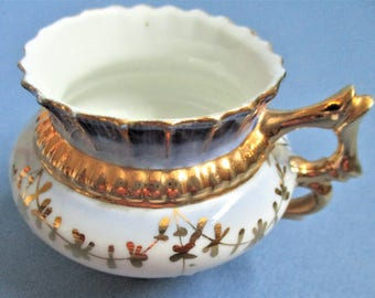 Gilded Tea Cup Demitasse Cup Victorian Era 1880 German Espresso Cup Vintage Gold Twig Handle Gold Gilt Hand Painted Blue Gold Gilt Cup