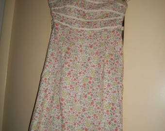 Vintage White Multi-Color Floral Lined Sundress Size 2