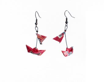 Earrings Origami Boats with veils bright red and multicolored