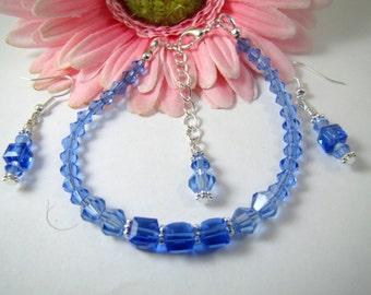 Light Sapphire Blue and Blue Sapphire Cube Swarovski Crystal Bracelet and Earrings