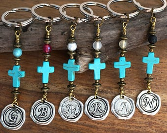 fathers Day Gift Blue Turquoise Cross Keychain Favors Cross Key Chain Initial Keychain for Women Coworker Gift Custom Keychain Personalized