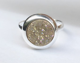 Druzy Ring,Druzy Silver Ring,Druzy Quartz,Agate Ring,Stone ring,Gemstone ring,Sparkle ring,Stacking,Druzy,925 Silver ring,champion Druzy