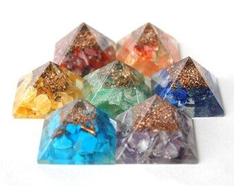Orgonite 7 Chakra Pyramid Set with REIKI symbol -Healing Crystals Quartz Amethyst Chakra - Healing Pyramid  7 set -Yoga-Peace