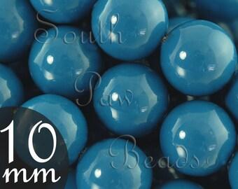 10mm Swarovski glass pearl beads, Lapis, Style 5810 (10)