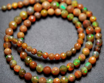 39 Carats,16 Inches,Super Finest,Natural ETHIOPIAN Opal Faceted Round Rondelles Super Flashy Strand, Size 3.5-5mm