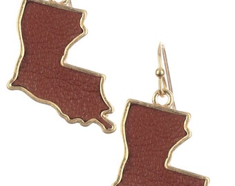 Assorted Colors - State of Louisiana Metal Charm Earrings