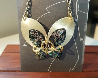 Chain maille butterfly necklace - gold with black foil (painted)