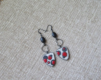 unique red and black earrings, heart earrings, Valentine's Day earrings, long black earrings, black and white raku earrings, unique jewelry