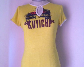 """Yellow Vintage T Shirt from """"Kuyichi"""" dutch clothing label with cutout front/short sleeves/Grunge t shirt/Real Organic Cotton/FREE SHIPPING!"""