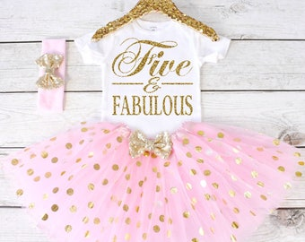 Five and Fabulous. Girls Birthday Outfit. Tutu Set. Girl's 5th Birthday Tutu Outfit. Birthday Outfit Girl. Girl Outfit S6 5BD (LIGHTPINK)