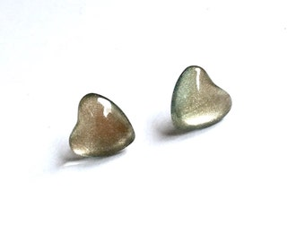 Gold Heart Stud Earrings. Surgical Steel Posts, Nail Polish, Color Changing