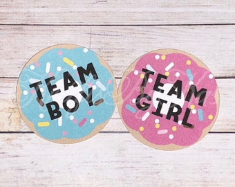 Boy Or Girl We Donut Know gender reveal pins, we donut know gender reveal, donut gender reveal, donut theme gender reveal, donut gender pins