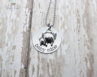 Baby Mine hand stamped necklace / elephant / mom and baby / Elephant necklace / Mother's Day gift ideas