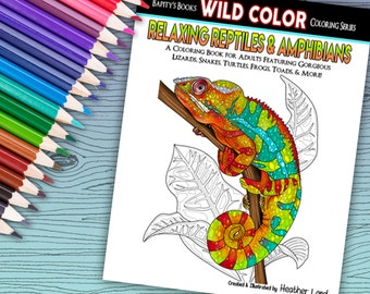 Relaxing Reptiles - Adult Coloring Book 32 pages - Printable Instant Download PDF