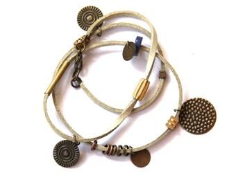 Beige Leather and Brass Charm Wrap Bracelet