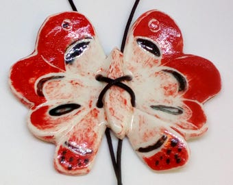 Butterfly pendant , Porcelain hand painted  red butterfly .Porcelain jewelry ,
