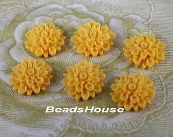37-00-135-CA  6Pcs  Natural Shape Chrysanthemum Cabochons - Yellow Gold.