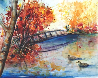 River Landscape original watercolor painting Original landscape painting Fairy garden painting Watercolor river painting