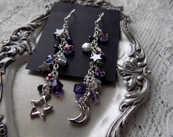 Fabulous Purple Moon and Star Cluster Earrings