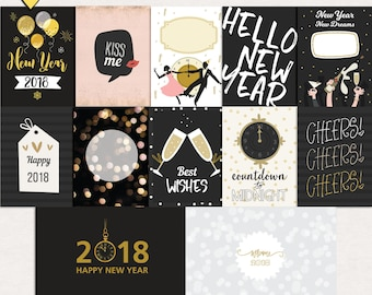 Printable new year journal cards, Digital journal cards, New year project life printables, journal cards new year printable