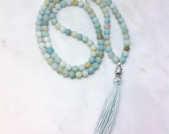 Sapana Mala - Amazonite Mala Beads - Buddhist Prayer Beads, 108 Mala Beads - meditations on the heart chakra, compassion, Product ID 1222
