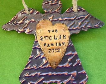 Personalized Ornament - Hand Stamped - Christmas Decoration - Primitive Rustic Angel