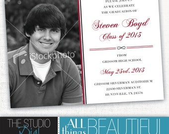PRINTABLE Graduation Invitations - customizable school colors and photo