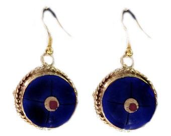 Etsy Jewelry,Lapis earrings,Lapis Lazuli Jewelry,Nepal Earrings,Bezel Set,Bridal Jewelry,Gold Vermeil,Handmade Earrings by TANEESI