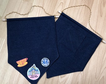 Denim Pin and Patch Display flags - display your enamel pins, badges and iron-on patches