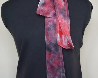 Carmine Red and Black mottled Silk Scarf 35cm x 126cm