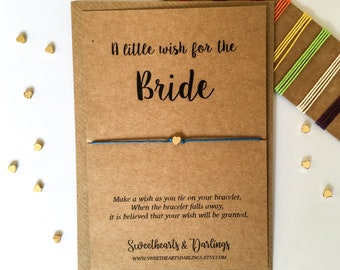 A little wish for the bride, bride gift, bride wish string bracelet, bachelorette party, bridal shower, hen party, something blue