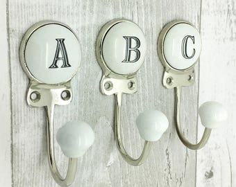 Ceramic Alphabet Or Number Letter Wall Coat Rack Hook 3501