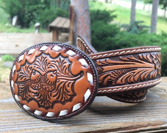 Tony Lama Tooled Belt -Tony Lama Tooled Buckle-Vintage Tony Lama-Tooled Belt&Buckle-Western-Cowboy-Cowgirl-30""