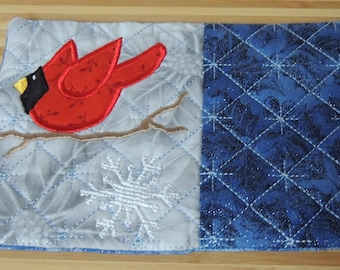Cardinal Applique and Embroidered Mug Rug Coffee Mat Candle Mat Drink Coaster Gift Decorative Snack Table Desk Mat Blue Silver Red