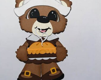Pilgrim Bear Girl Premade Scrapbook Pages Die Cut