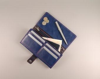 Leather wallet, zipper wallet,  Womens Wallet,  iphone wallet, leather card wallet, Leather Purse,  long leather wallet, blue wallet