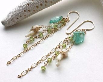SALE Blue Green Dangle Earrings, Apatite Dangle Earrings, Beach Cluster Earrings, Hawaiian Coral Earrings:  15% Off, Ready to Ship