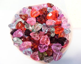 50x 13mm Faceted Heart Beads .. crystal resin transparent in Warm Multicolours