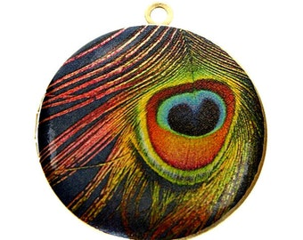 Altered Art PHOTO LOCKET - Peacock Feather - Blue