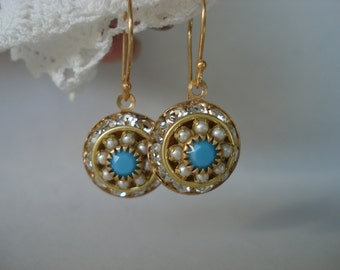 Vintage Art Deco Swarovski Turquoise Pearl Glass Pierced Earrings Rhinestone Vermeil Gold
