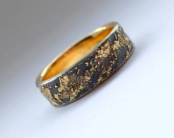 Gold Chaos with Gold Lining - Unique Men's Wedding Band, 18k Gold and Oxidized Sterling Silver