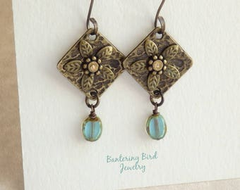 Diamond Shaped Antiqued Brass Earrings, Riveted Flower with Blue Glass Drop