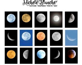 Moon Phases Photos Choose your Moon Set Quarter Moon, Blood Moon, Last Quarter Moon, Supermoon, Moon set of Moon Prints