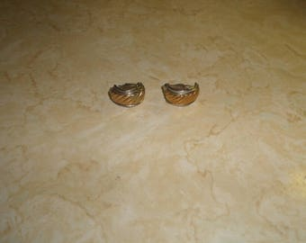 vintage clip on earrings goldtone silvertone half hoops