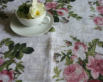 TABLE LINENS Floral tablecloth linen tablecloth Shabby Chic tablecloth