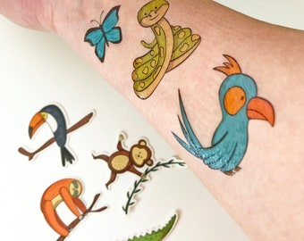 Kids Temporary Tattoos JUNGLE ANIMALS, animal tattoos, kids party tattoos, Pack of 15 tattoos