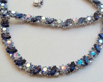 TRIFARI Vintage Necklace Bracelet Sapphire & Sky Blue Aurora Borealis Rhinestones