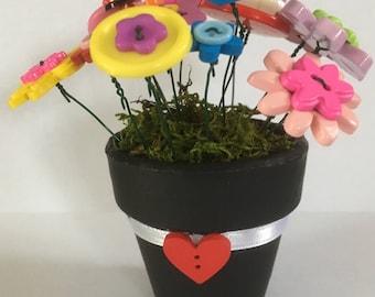 Cute As A Button Flower Pot